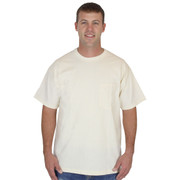 Mens NATURAL Pocket Tee 100% Organic Cotton Hypoallergenic Crew Neck Grown and Made in USA