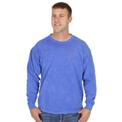 Mens Sky Blue Long Sleeve 100% Organic Cotton Hypoallergenic Crew Neck Tee Grown and Made in USA