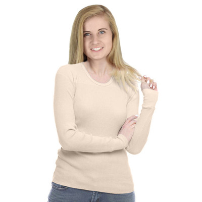 100% Cotton Thermal Long Sleeve Shirt Top Champagne