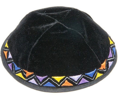 BLACK VELVET KIPPAH WITH COLORFUL EMBROIDERY