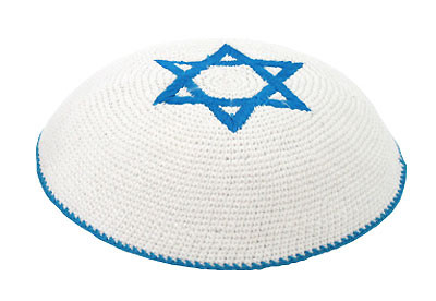 Knitted Kippah with Blue Star of David