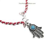 Silver Kabbalah Red String Bracelet with Hamsa Pendant