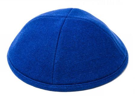 Blue Wool Kippah