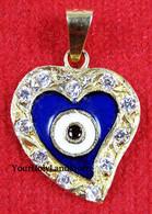 Solid Gold HEART PENDANT AGAINST EVIL EYE