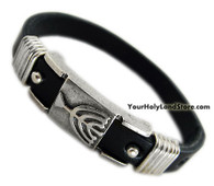 JEWISH MENORAH LEATHER BRACELET