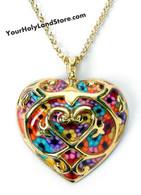 Thousand Flowers Gold Heart Necklace by Adina Plastelina