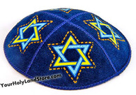 Blue Leather Kippah with Star of David