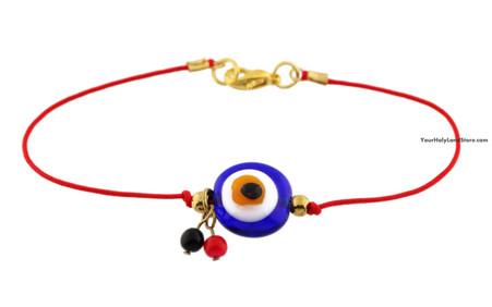 Kabbalah Red String Bracelet with Blue Glass Evil Eye