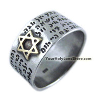 Silver and Gold 72 Names of God Kabbalah Ring with Star of David