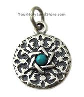 Star of David & Shema Yisrael Pendant with Turquoise Gem