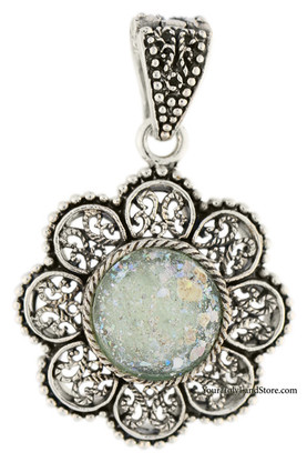 Silver and Ancient Roman Glass Filigree Necklace