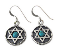 Silver Star of Magen David Earrings with Turquoise Gemstone