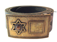 Leather Belt with Star of David and Blessing Buckle