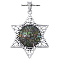 Sterling Silver and Roman Glass Star of David Pendant