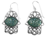 Sterling Silver and Ancient Roman Glass Hamsa Earrings