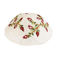 White Kippah with Embroidered Pomegranates