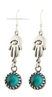 Hamsa Earrings with Turquoise Gemstone