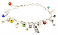 Evil Eye Bracelet with Heart, Key and Love Charms