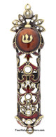 Metal Mezuzah Case with Crystals