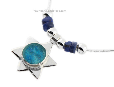 Roman Glass and Dumortierite Star of David Necklace