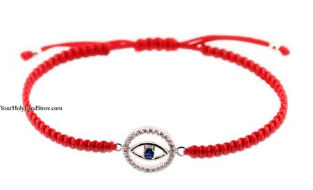 Red String Macrame Bracelet with Evil Eye