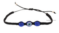 Black Macrame Bracelet with Evil Eye