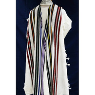 Wool Tallit with Seven Colorful Stripes