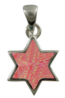 Silver and Pink Opal Star of David Pendant