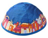 Blue Kippah with Embroidered Jerusalem