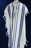 Wool Tallit with Blue and Silver Stripes