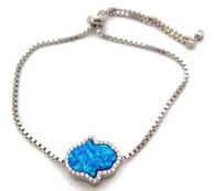 Silver and Blue Opal Hamsa Tennis Bracelet