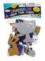 Chanukah Glitter Foam Shapes Stickers