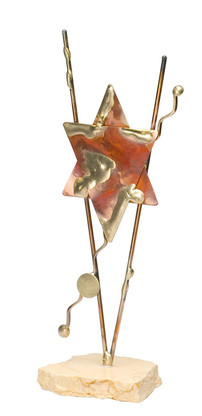 Copper Star of David Sculpture