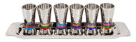 Set of 6 Kiddush Cups with Tray