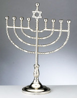 Traditional Menorah - Silvertone Finish