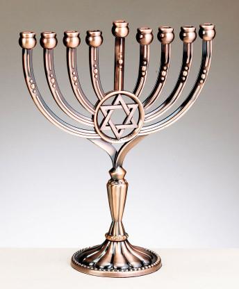 Star of David Menorah - Copper Finish