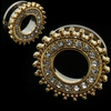 Gold Face CZ Gem and Beaded Rim Tunnels Stainless Steel Screw Back  Ear Plugs