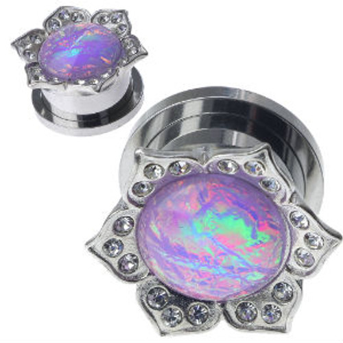 Stainless Steel Gems With Synthetic Lavender Opal center Screw Back Ear Gauges (Pair)