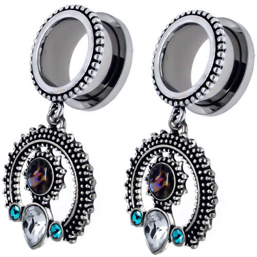 Stainless Steel Screw Back Ear Plugs with Horseshoe  Abalone Shell  Dangle Teal Gems