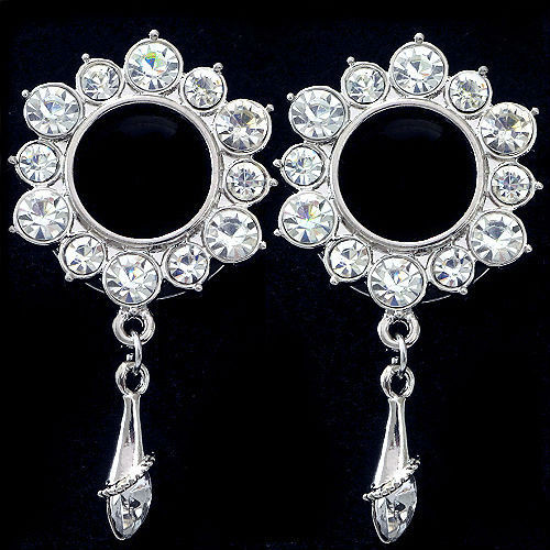 Stainless Steel  Flower  W/Dangle Gems Screw Back Ear Tunnels