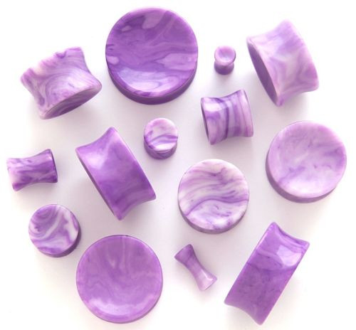 Concave Purple Lace Agate organic stone Ear Plugs