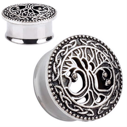 Ear Plugs Stainless Steel Antiqued Tree Of Life