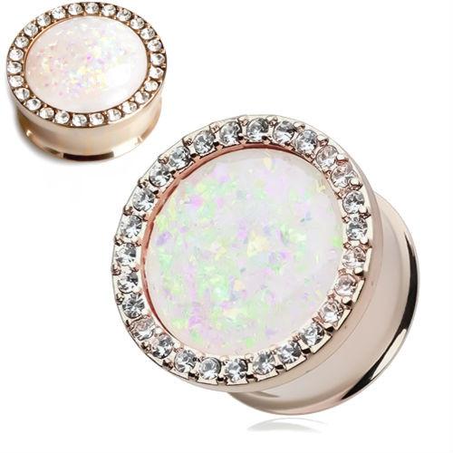 Rose Gold Opal Center Double saddle ear plugs with multi gem rim