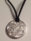 "Circle with Peace, Heart, I LOVE YOU Hand Silver Necklace  with adjustable chain 18"" to 20 "" (Black Suede)"
