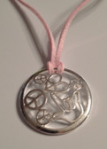 "Circle with Peace, Heart, I LOVE YOU Hand Silver Necklace  with adjustable chain 18"" to 20 "" ( Pink Suede)"