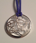 "Circle with Peace,Heart and I LOVE YOU hand Silver Necklace  with adjustable chain 18"" to 20 "" (Navy Suede)"