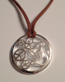 "Circle with Peace, Heart, and I LOVE YOU hand, Silver Necklace  with adjustable chain 18"" to 20 "" (Brown Suede)"