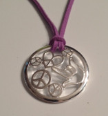 "Circle with Peace, Heart, and I LOVE YOU hand, Silver Necklace  with adjustable chain 18"" to 20 "" (Purple Suede)"