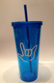 Tumbler with Straw Tall Blue with White I LOVE YOU (24 oz)