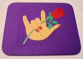 Rose and Hand ILY Mouse Pad (Purple) LARGE